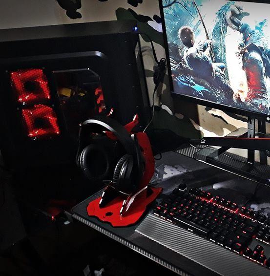 Suporte Headset Rise Mode Alien Pro - Preto e Vermelho