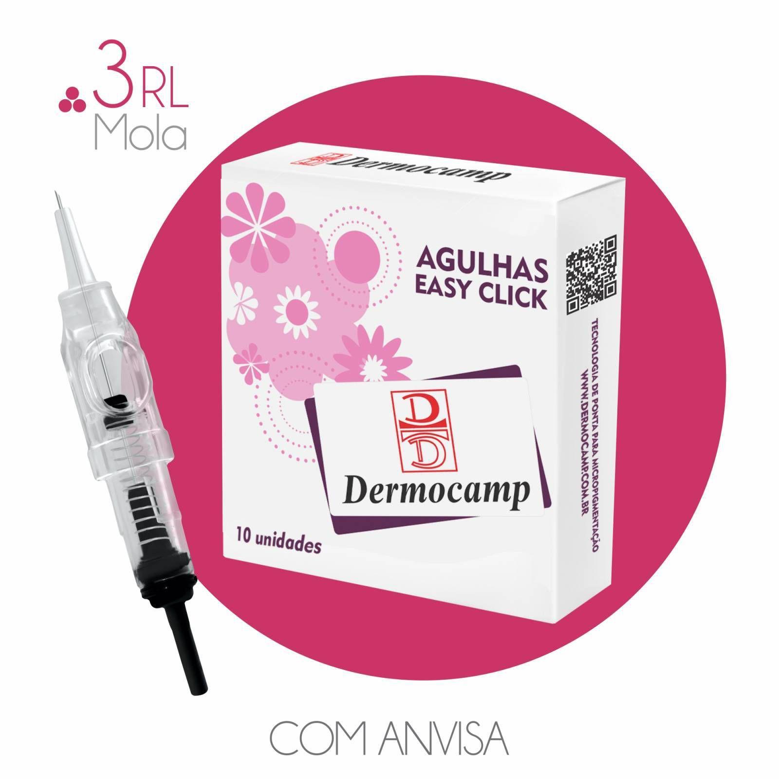 AGULHA EASY CLICK DERMOCAMP - 3 PONTAS CIRCULAR COM MOLA  (REGISTRADO NA ANVISA)  - Misstética