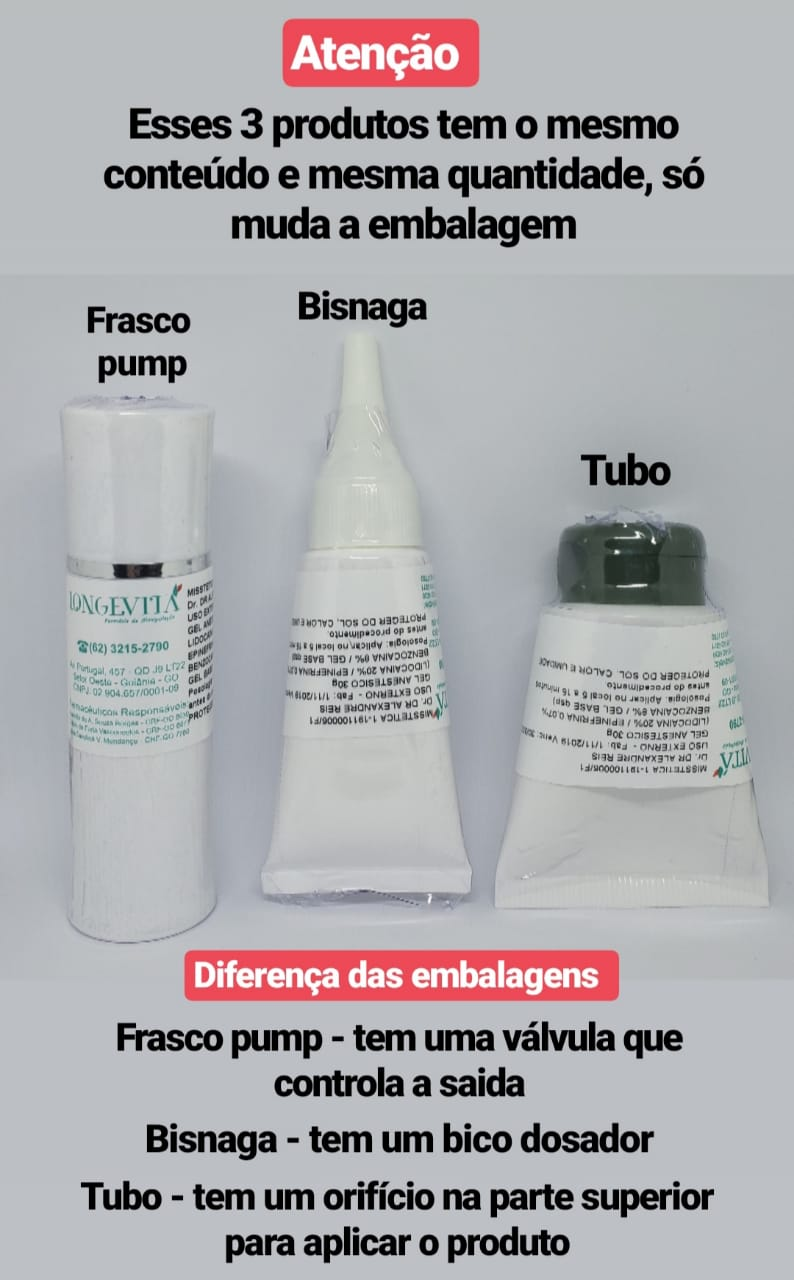 GEL ANESTÉSICO MANIPULADO - ZERO DOR / FRASCO PUMP (30G)  - Misstética