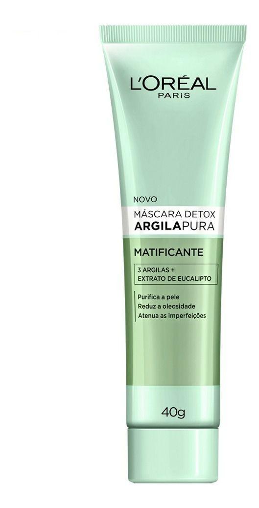 MÁSCARA FACIAL DETOX ARGILA PURA (L'ORÉAL)  - MATIFICANTE (40G)  - Misstética
