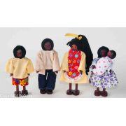 Kit Bonecos Família Negra com Bebê (5 bonecos)