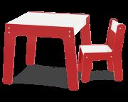Mesa com Cadeira - Vermelha