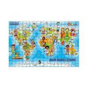 Quebra-Cabeça Geografia - Mapa Mundi e Etnias