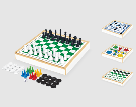 Jogo 4 em 1 Xadrez, Ludo, Damas e Trilha