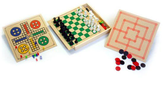 Jogo 4 em 1 Xadrez, Dama, Ludo e Trilha