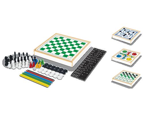 Jogo 6 em 1 Xadrez, Damas, Trilha, Ludo, Pega-Varetas e Dominó