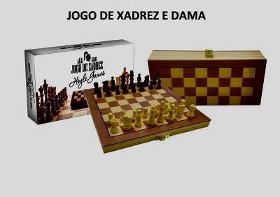 Jogo de Xadrez e Dama em Madeira