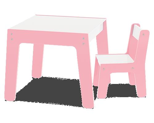 Mesa com Cadeira - Rosa