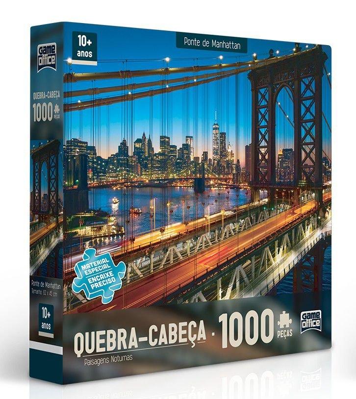 Ponte de Manhattan - Quebra-Cabeça 1000 Peças - Paisagens Noturnas