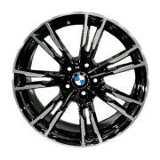 JG com 4 Rodas Presenza PRZ-1356 BMW M5 2019 aro 20 tala 8 ET35 furação 5x120 preto com diamantado