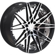 Jogo 4 Rodas Euro Racing Wheels ERW004 aro 20 5x120 Concova c/2 talas 8,5e10 Preto brilhante com diamantado ET35/38