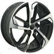 """Jogo com 4 rodas PDW Audi RS5 aro 20"""" furacão 5X112 acabamento preto e diamante tala 8,5"""