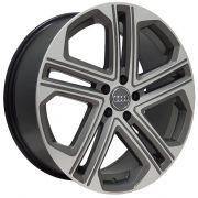 Jogo 4 Rodas Zeus ZWA S7 Audi S7 aro 20 tala 8 Furação 5x112 ET47 Grafite com diamantado semi brilho
