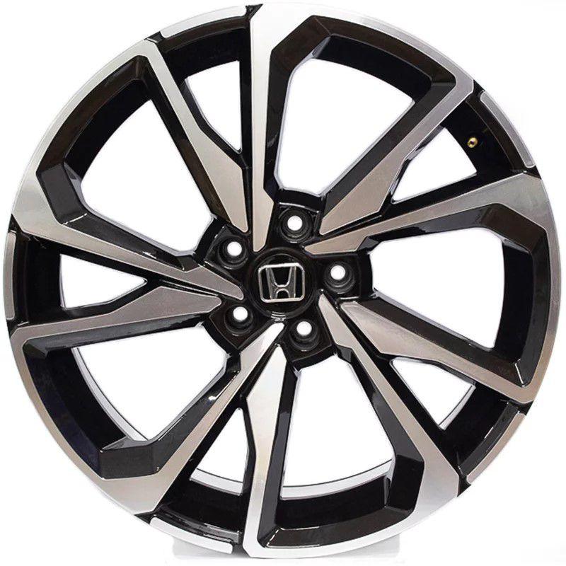 Jogo 4 Rodas GT7 Honda Civic SI Aro 20 Tala 8 Furação 5x114,3 ET45 Preto com diamantado