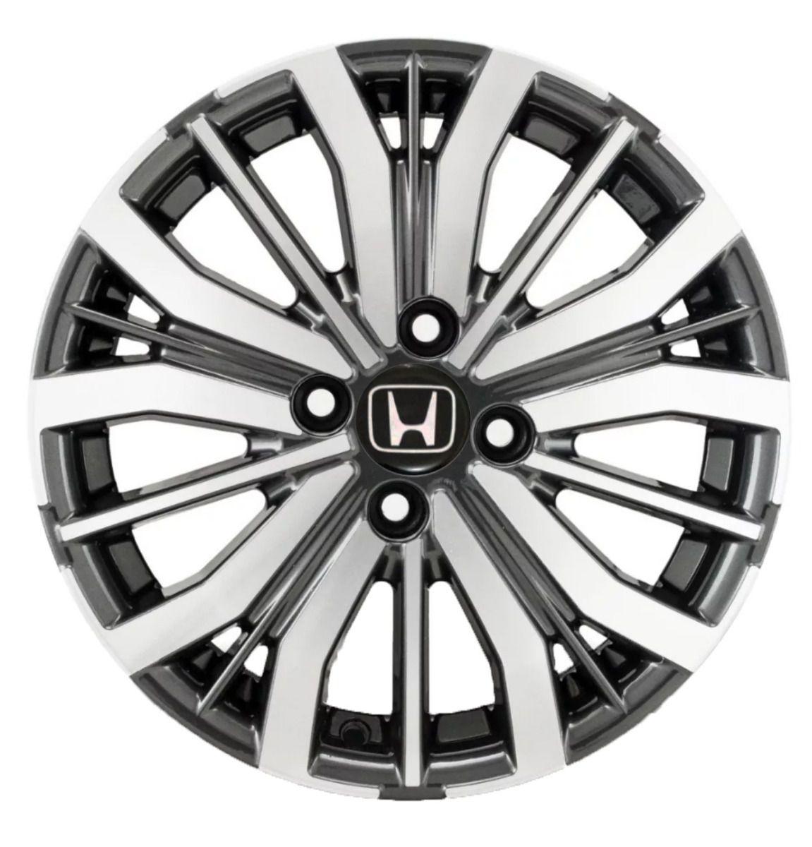 Jogo 4 Rodas KR S-04 Honda City 2018 aro 15 4x100 grafite diamantado tala 6 ET50