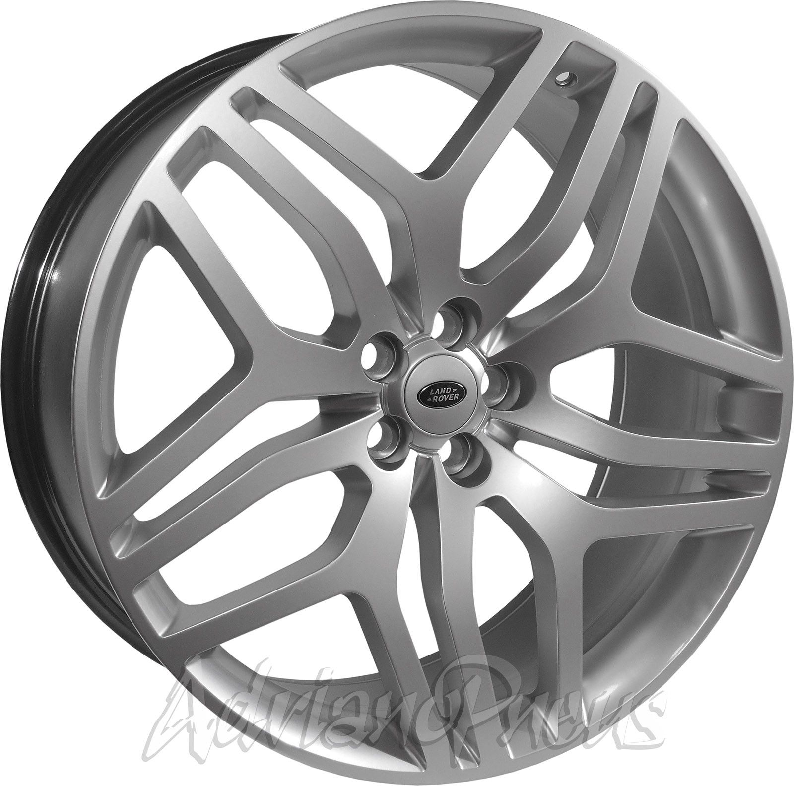 Jogo 4 rodas Zeus 5322 Land Rover Conceito aro 22 tala 9,5 furacão 5X108 acabamento silver ET 48