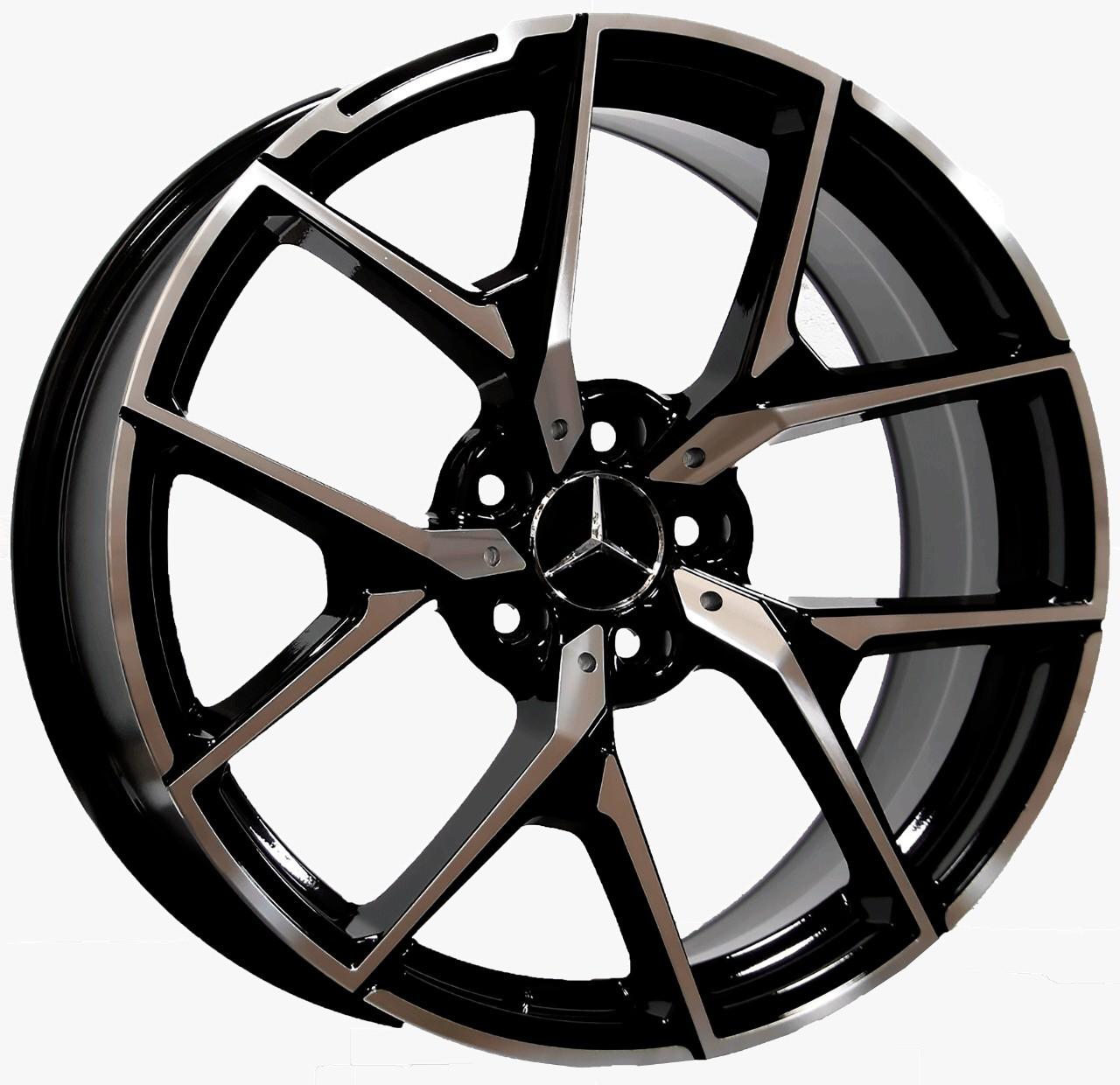 Jogo 4 Rodas Presenza D1225 Mercedes SLS 63 aro 20 Tala 8,5 Furação 5x112 ET45 Preto Semi Brilho c/Diamantado