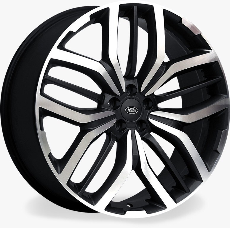 Jogo 4 rodas Raw MC/L08 Range Rover Sport aro 22 Tala 9 Furação 5x120 ET48 Preto brilhante e diamante