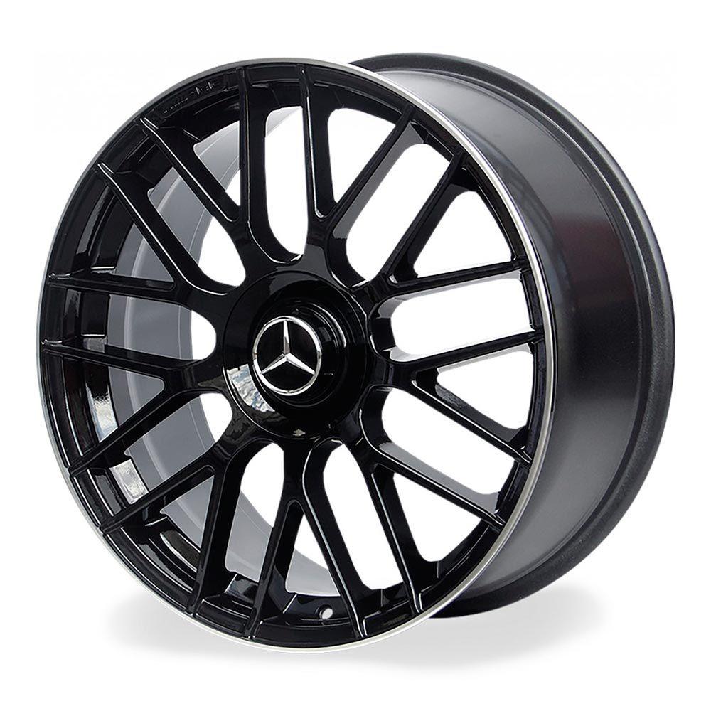 Jogo 4 Rodas Raw MC/M01 Mercedes C63 aro20 Tala 8 furação 5x112 ET45 Preto Brilhoso c/borda diamantada
