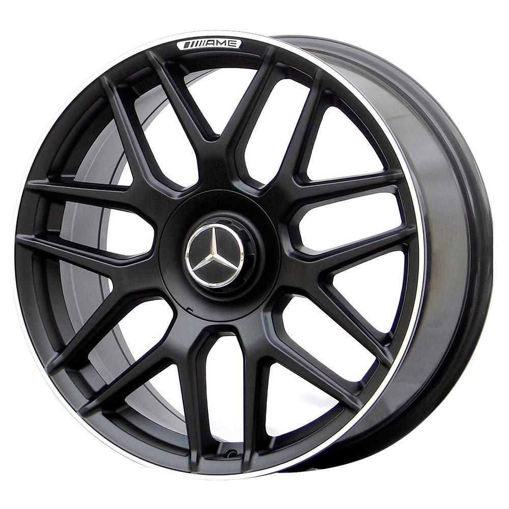 Jogo 4 rodas Raw MC/M10 Mercedes S63 AMG aro 18 5x112 tala 8 preto fosco com borda diamante ET45