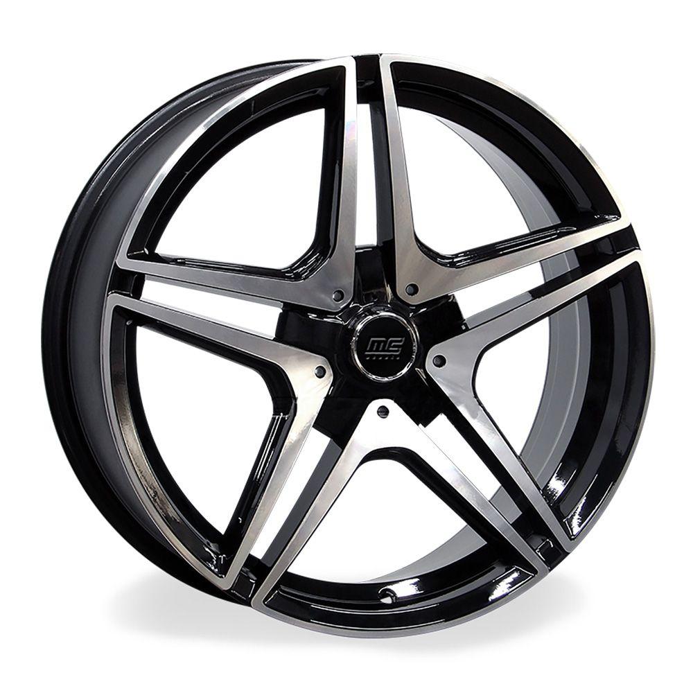 Jogo 4 Rodas Raw MC/M21 Mercedes AMG C63 aro 20 tala 8 furação 5x112 ET45 Preto brilhante e diamante