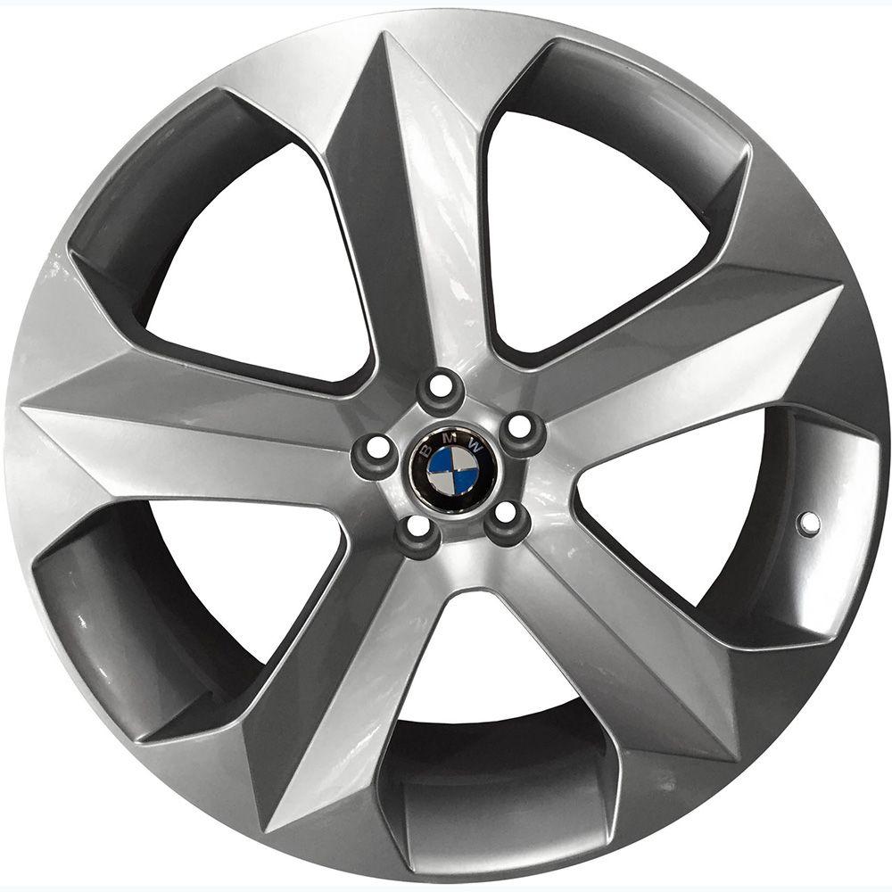 """Jogo com 4 rodas KR K-47 BMW X6 aro 18"""" furacão 5X100 acabamento prata tala 7"""