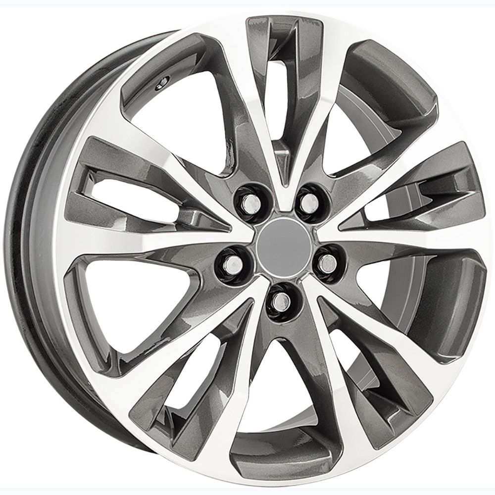 """Jogo com 4 rodas KR R-89 Corolla XRS ALTIS 2018 aro 16"""" furacão 5X100 acabamento grafite e diamante tala 6"""
