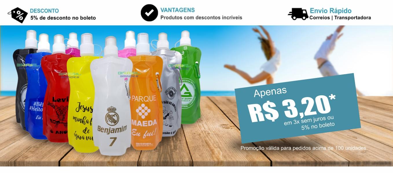 Garrafas de água personalizadas com sua arte, aproveite nossa promoção.
