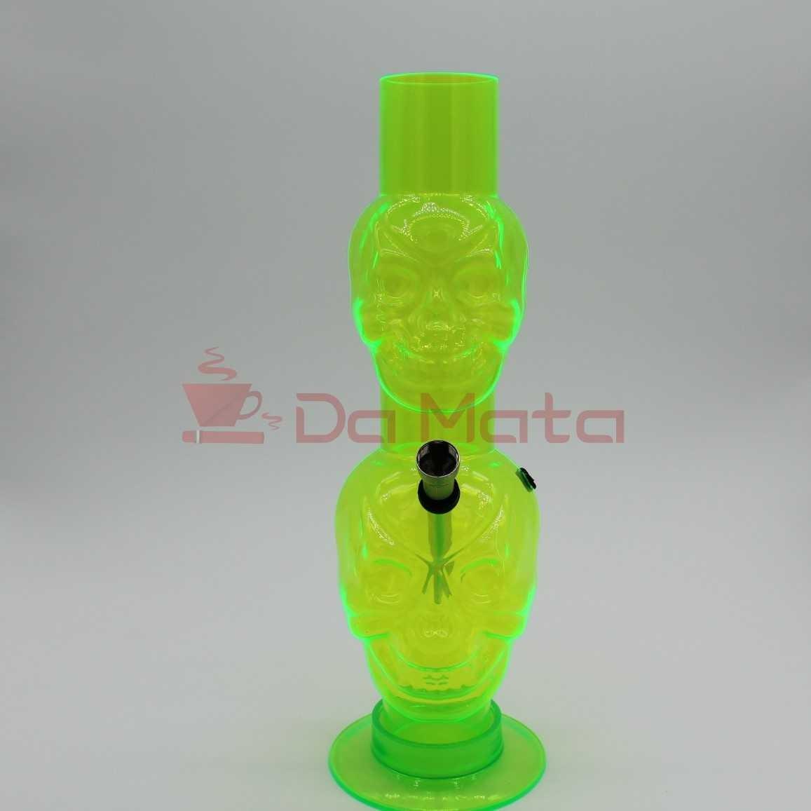Bong de acrilico Caveira  Verde Fluorecente