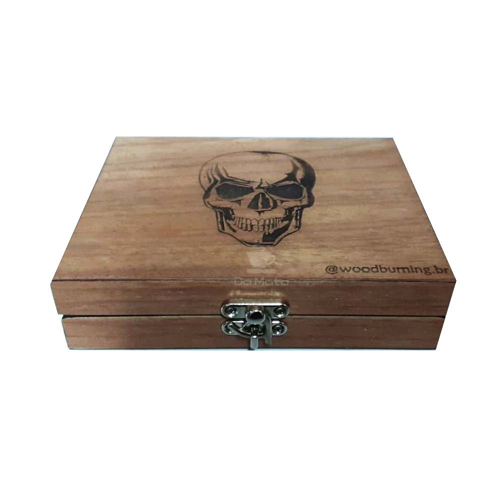 Box Glass Wood Burning Caveira