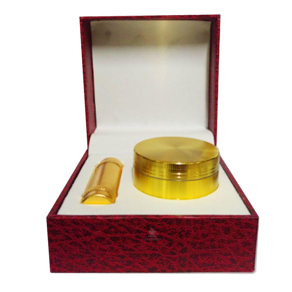 Caixa com Dichavador Dourado e Press Pólen