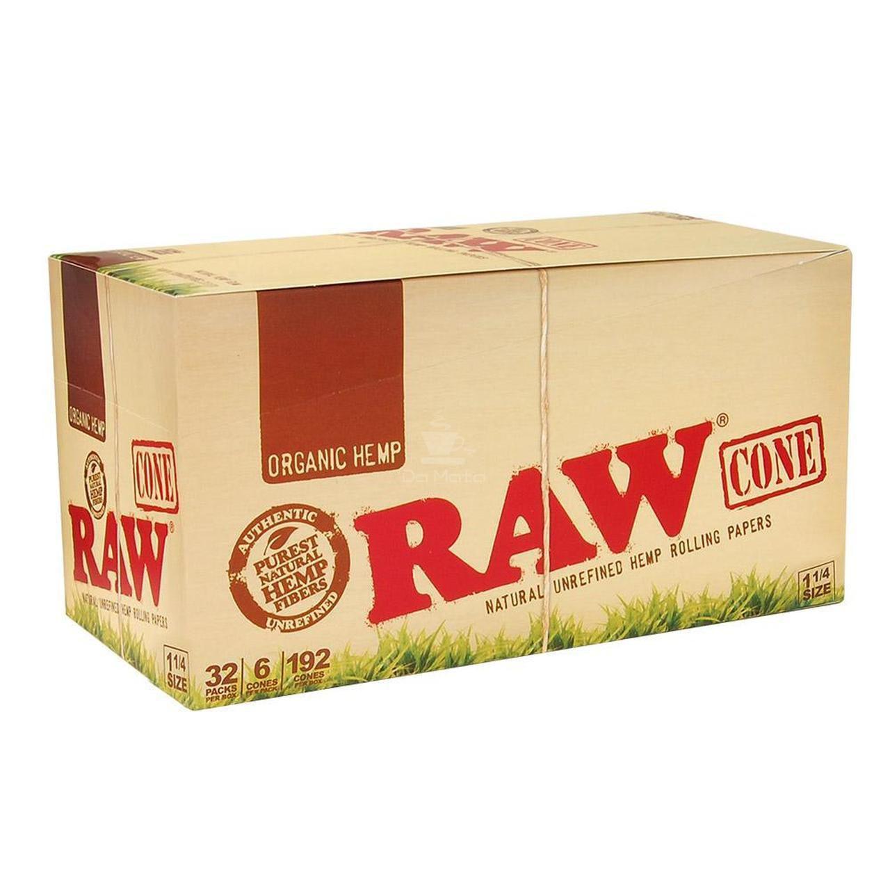 Caixa de Cone Raw Organic Hemp 1 1/4 - 32 unidades