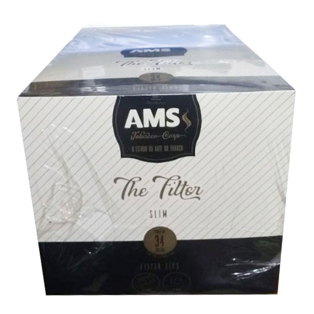 Caixa de Filtro AMS Tobacco - 34 bags com 130 filtros 6mm