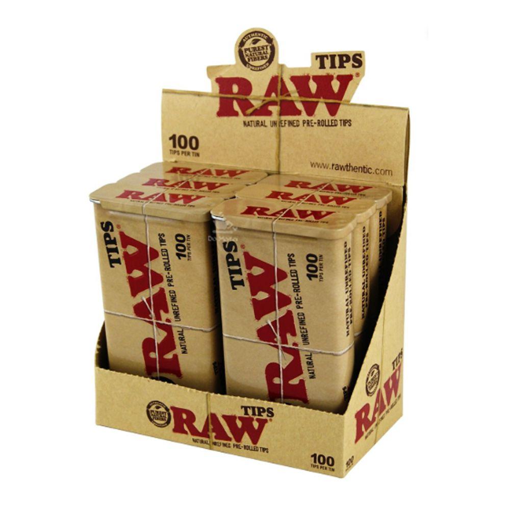 Caixa de Latas c/ Piteiras Pré-Enroladas Raw
