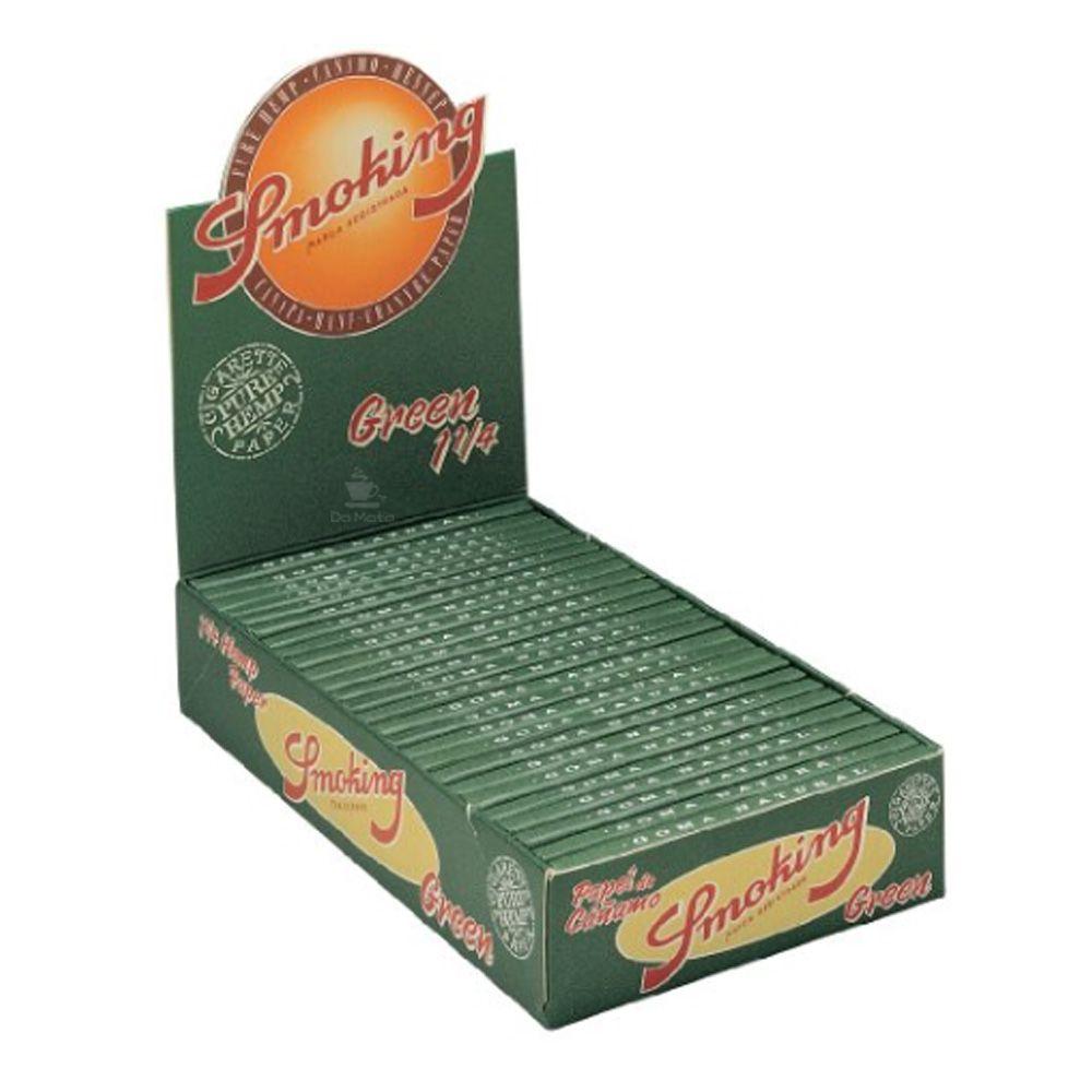 Caixa de Seda Smoking Green Hemp 1 1/4