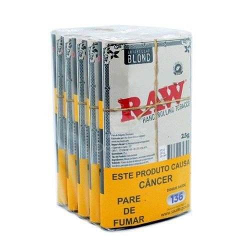 Caixa de Tabaco Raw Bright Leaf Blond - 5 un