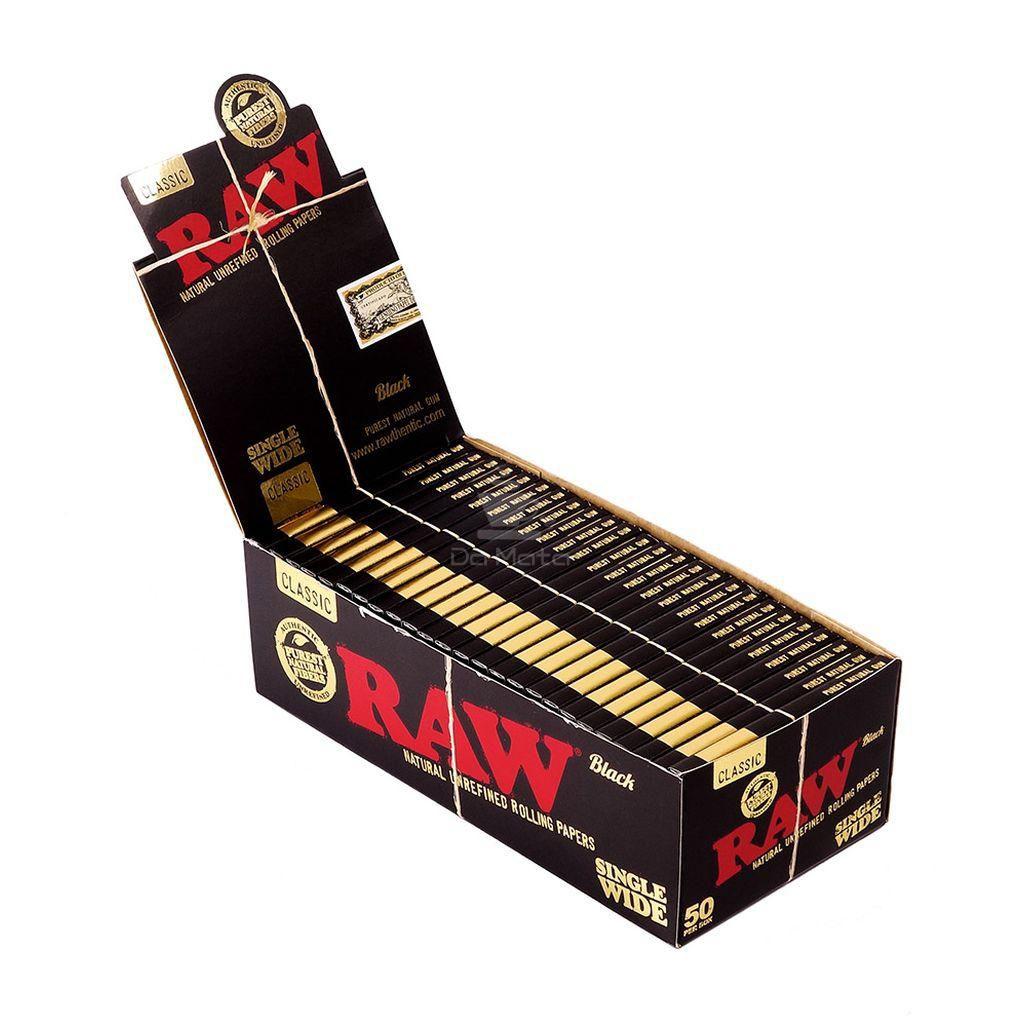 Caixa Raw Black single Wide - 50 unidades