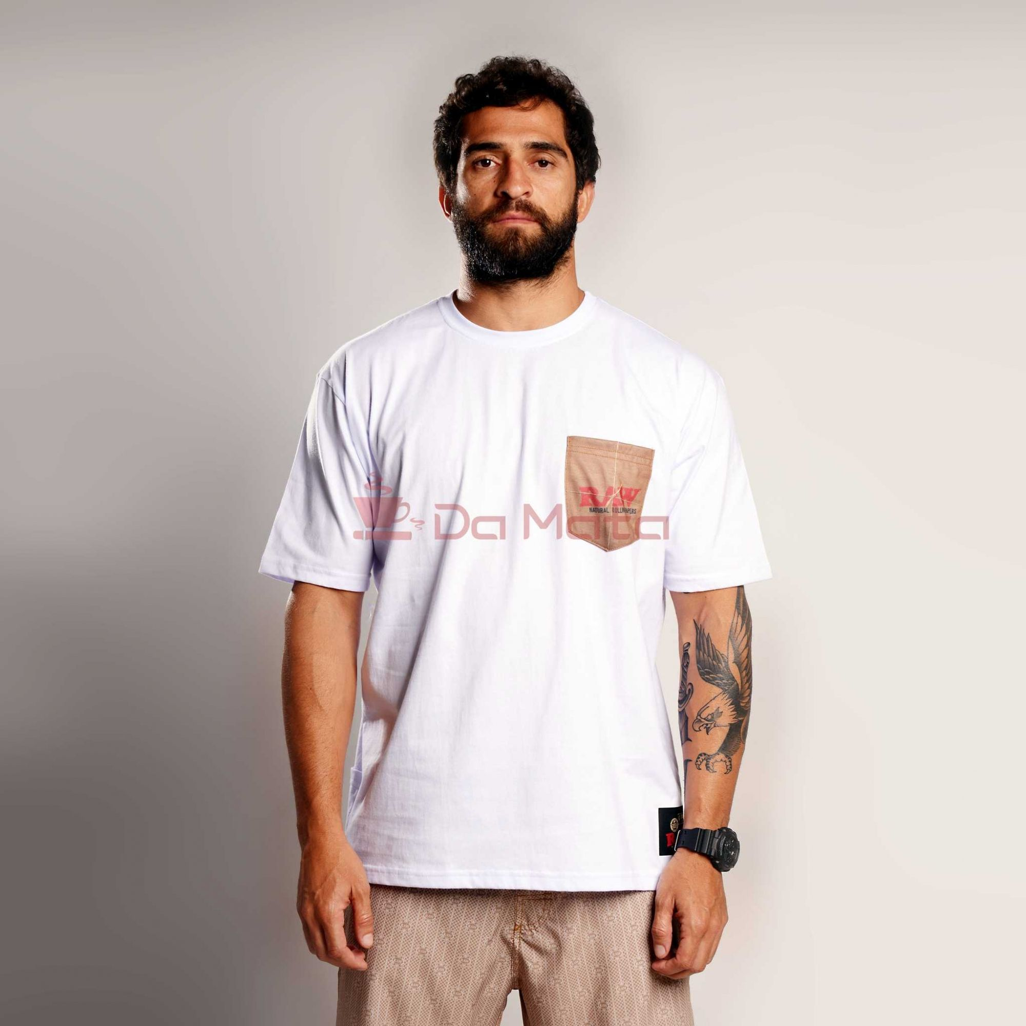 Camiseta Raw com bolso - White