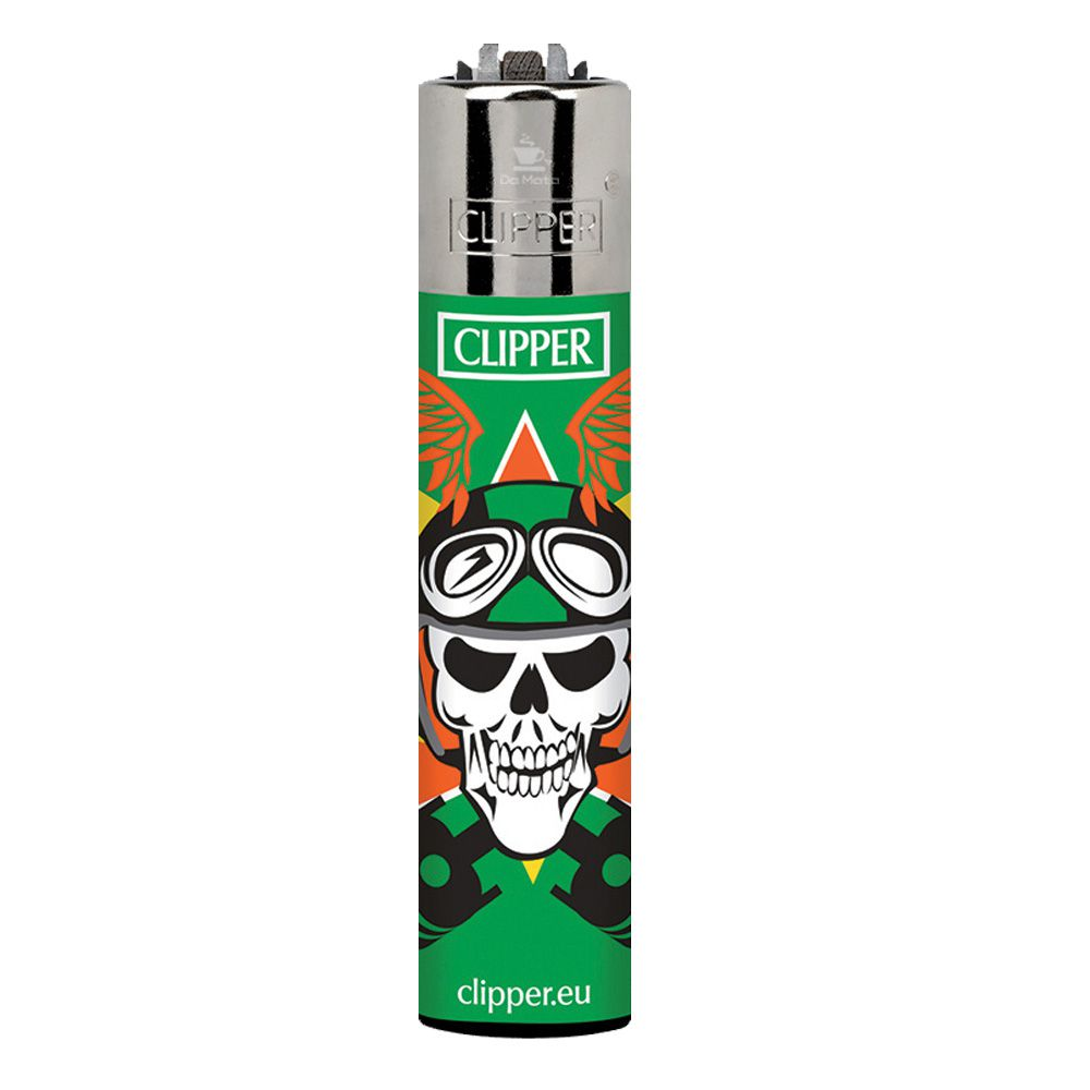 Isqueiro Clipper Skull Ride Verde