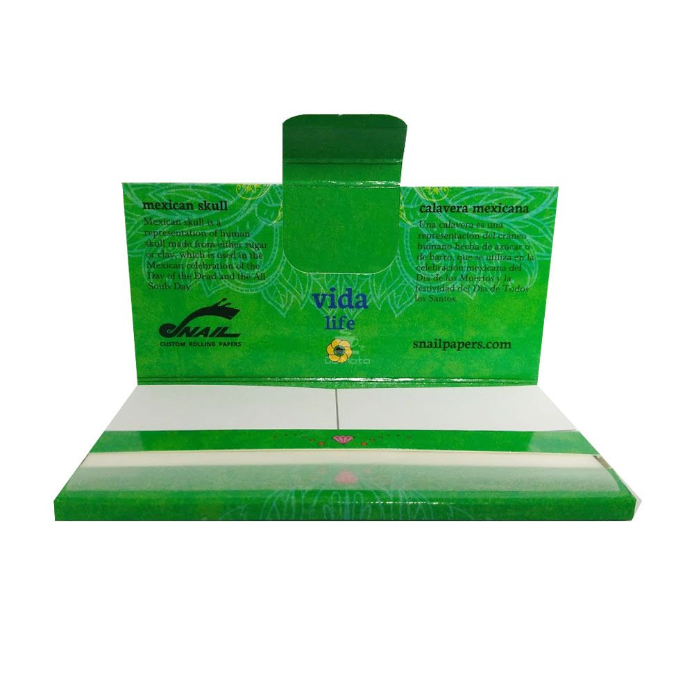 Seda Snail Calavera Mexicana Verde King Size c/ Piteira
