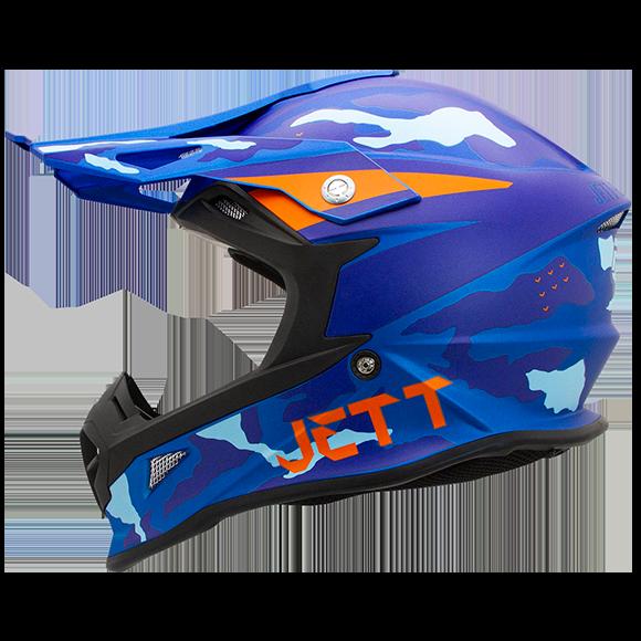 Capacete Jett Cross Fast Factory Edition 3 Azul / Laranja