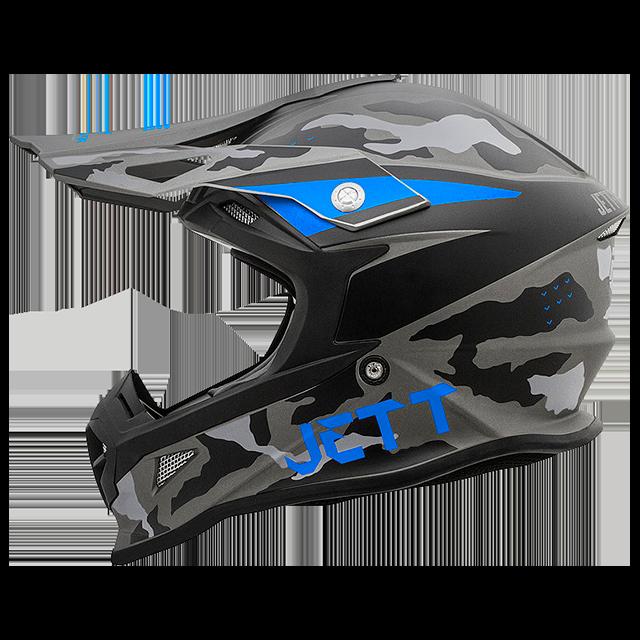 Capacete Jett Cross Fast Factory Edition 3 Cinza / Azul