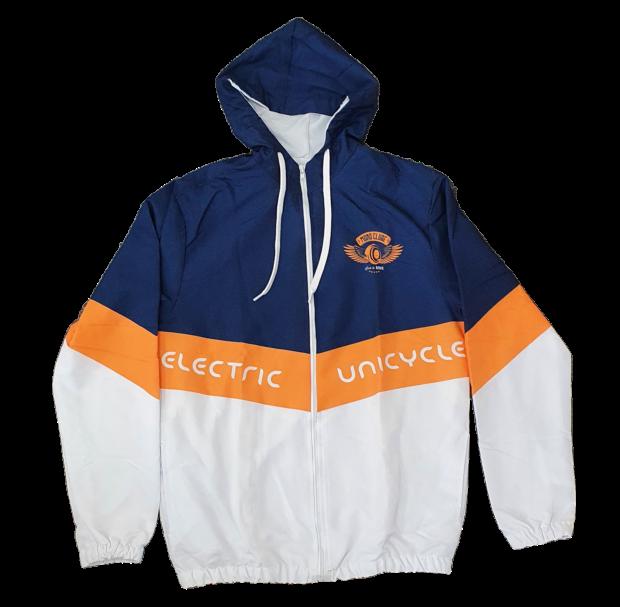 Jaqueta Corta-vento azul, laranja e branca Monoclube