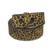 Tira de couro legitimo acamurçado com estampa animal print de onça (faixa dupla) para encaixe de diferentes fivelas