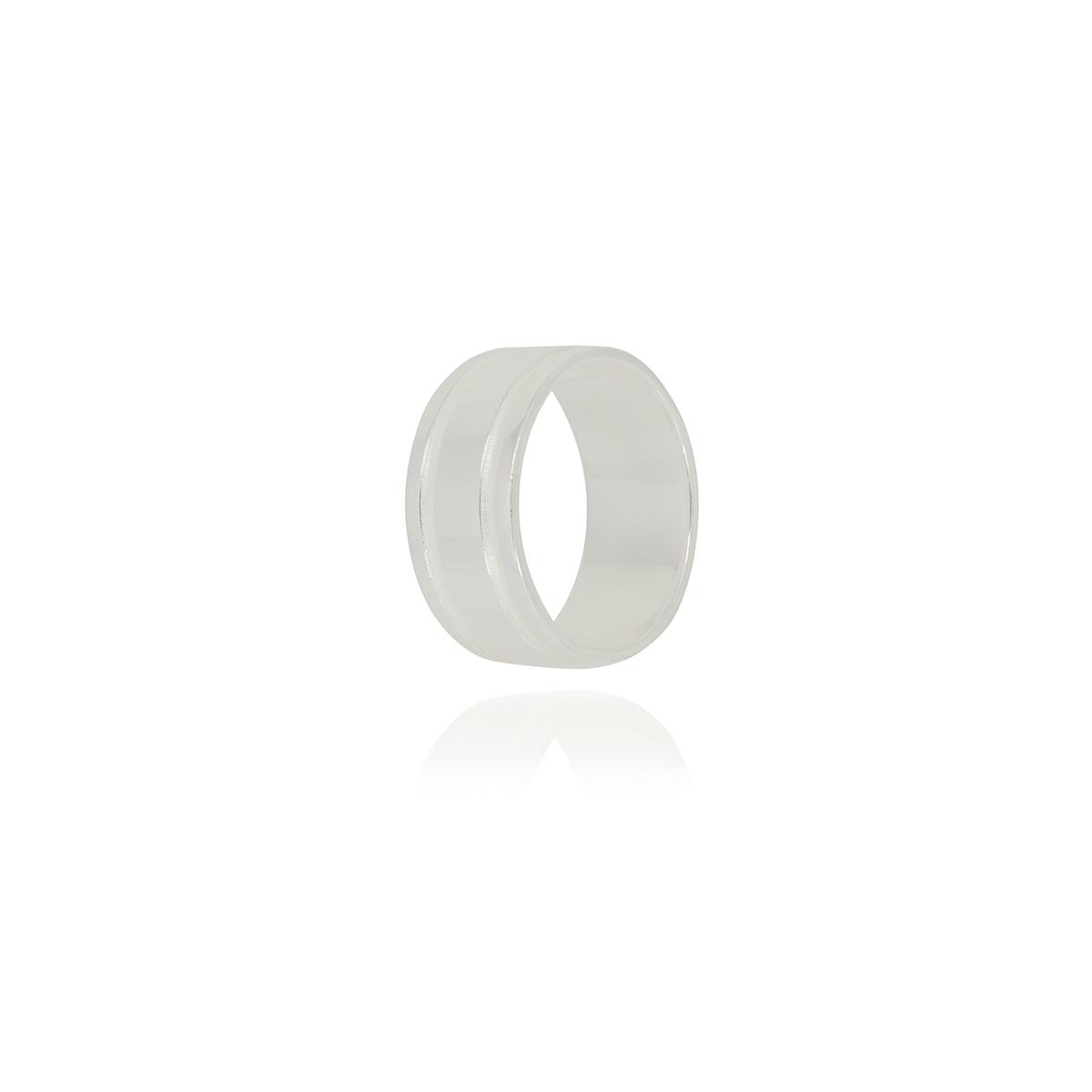 Aliança anatômica 8 mm joia em prata 925 maciça com frisos