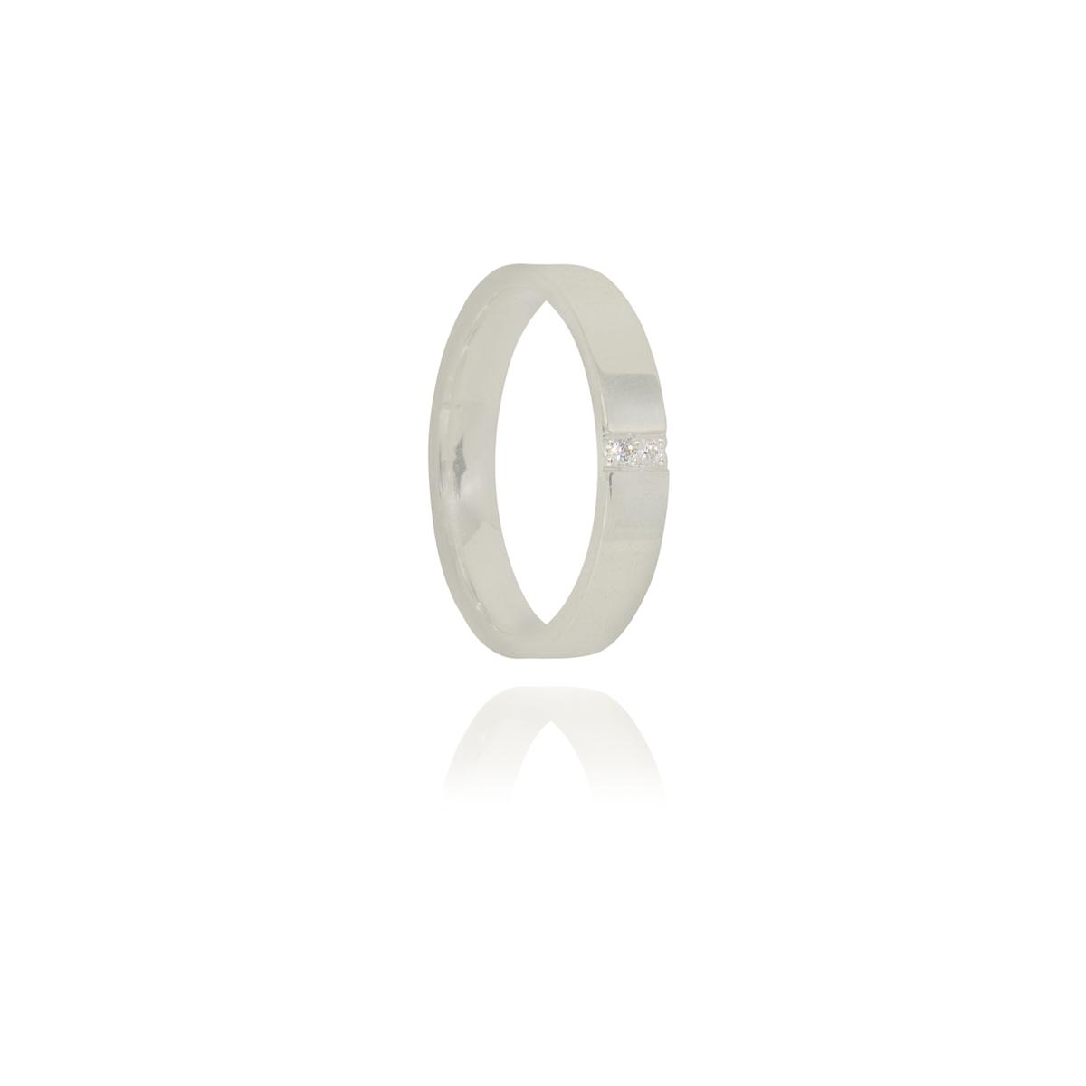 Aliança anatômica com pontos de luz em prata 925 pura 3,5 mm