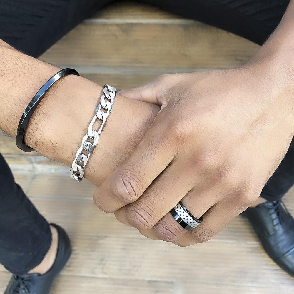 Aliança / anel aço inox vazado negro não risca nem escurece