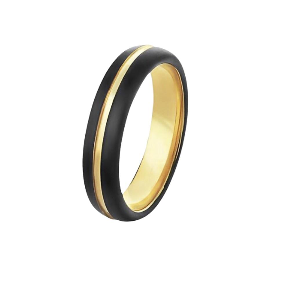 Aliança / anel de tungstênio anatômico faixa central dourada