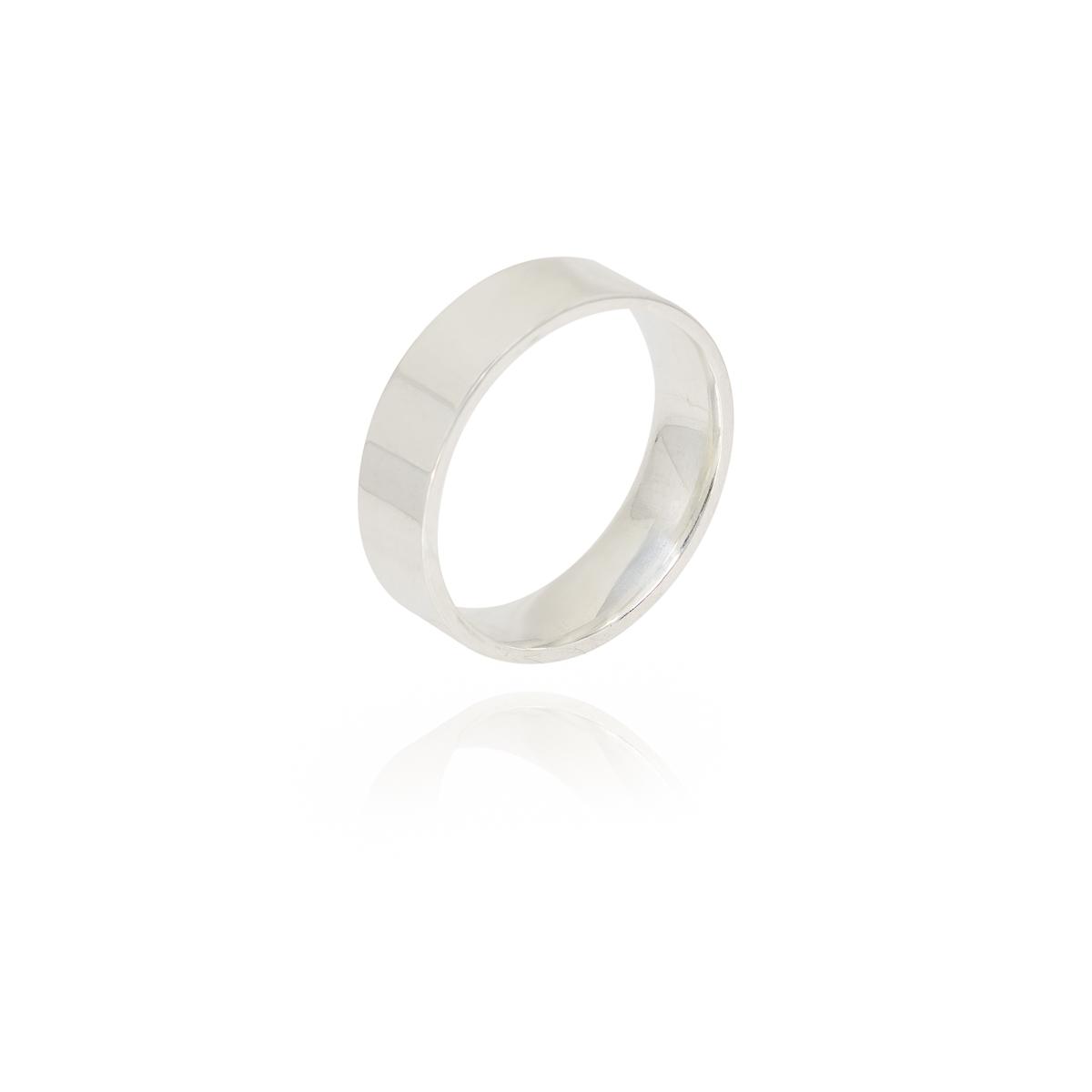 Aliança joia em prata 925 maciça lisa e reta de 5 mm