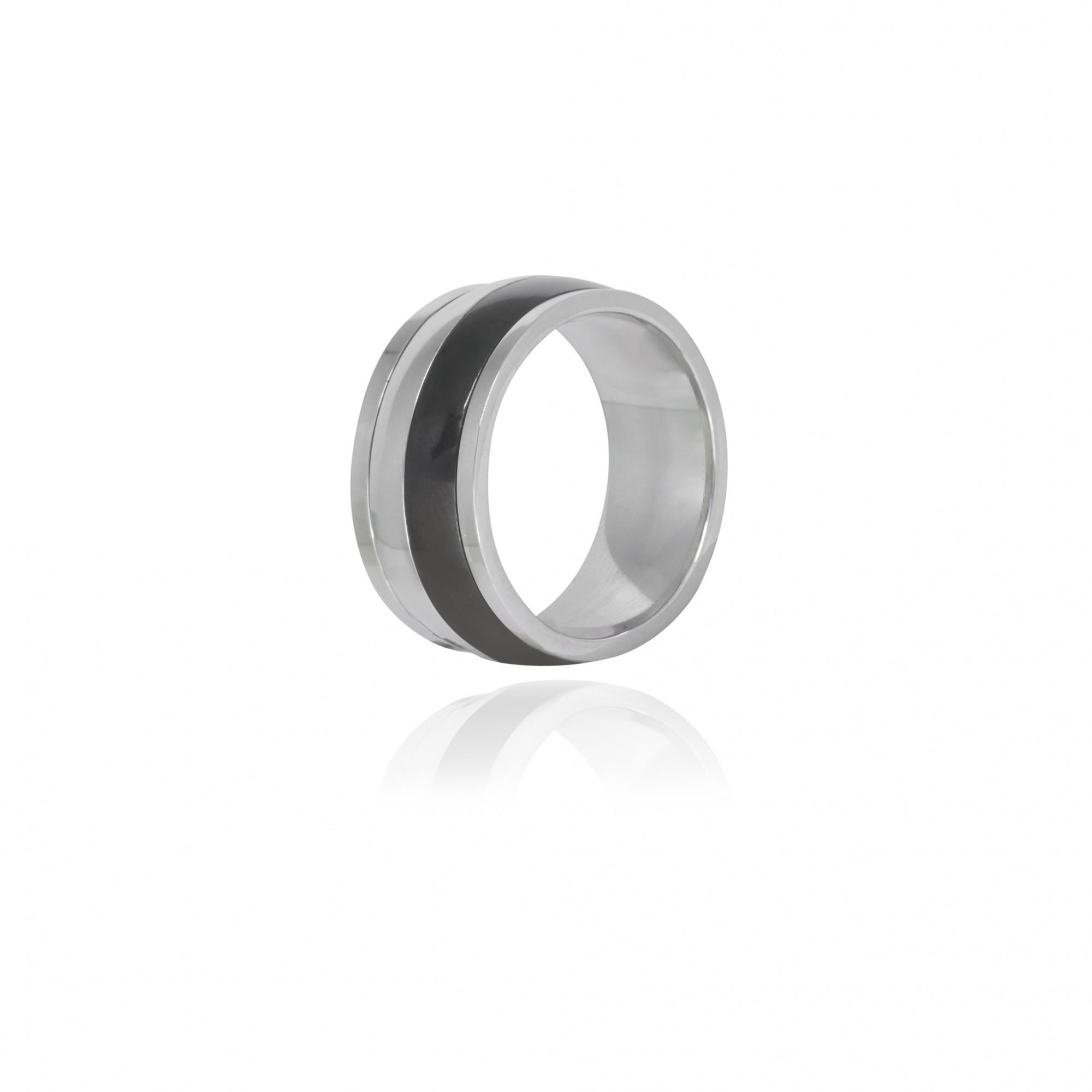 Aliança / anel aço inox listra negra hipoalergênico